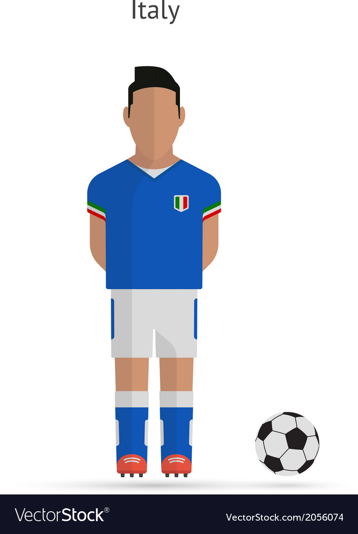 National football player italy soccer team uniform vector | Price: 1 Credit (USD $1)