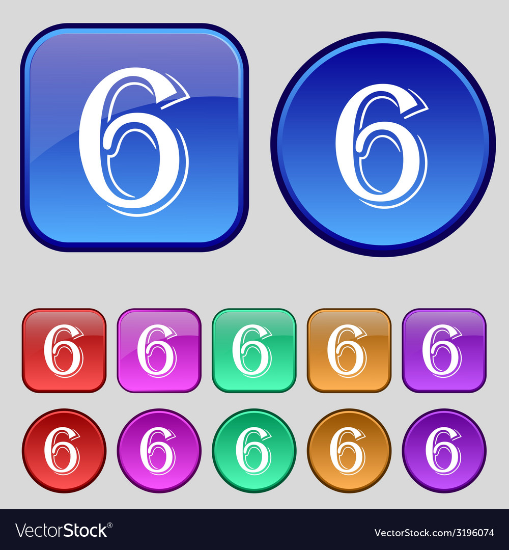 Number six icon sign set of coloured buttons vector | Price: 1 Credit (USD $1)