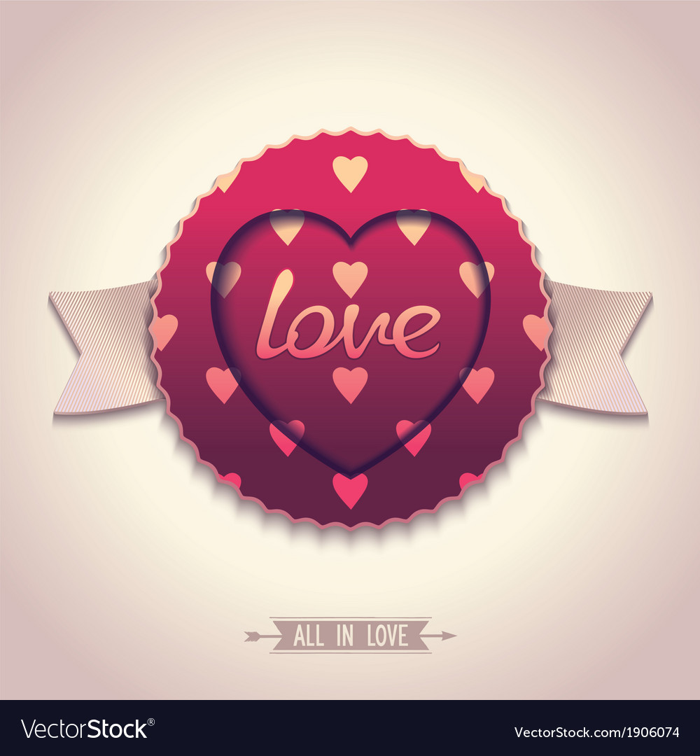 Oldfashioned label for love vector