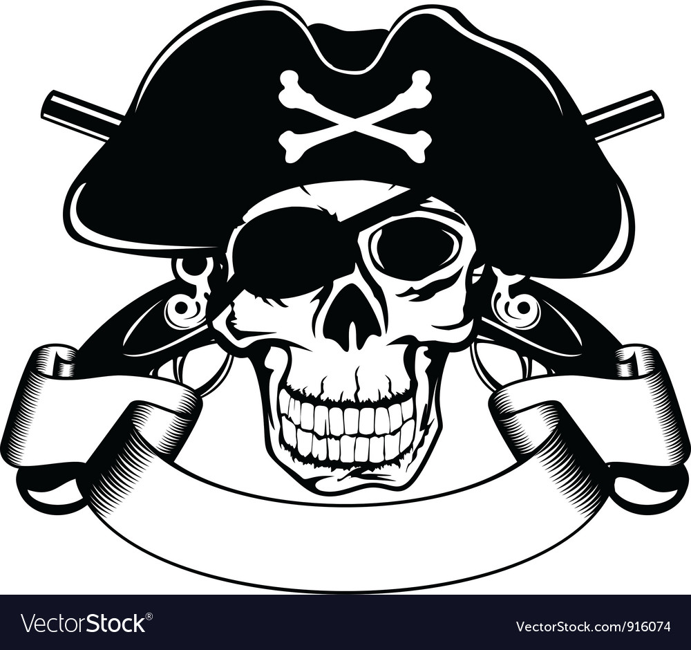 Pirate and crossed pistols vector | Price: 1 Credit (USD $1)