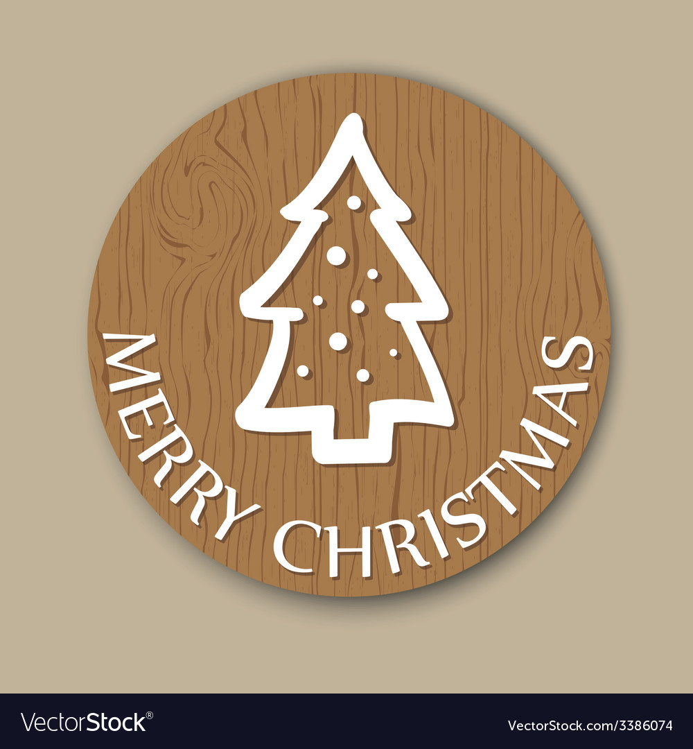 Round woody christmas greeting with christmas tree vector | Price: 1 Credit (USD $1)