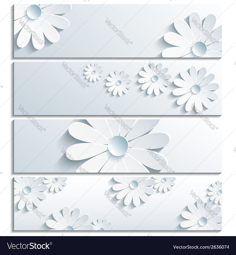 Set of floral banner with 3d chamomile gray vector | Price: 1 Credit (USD $1)