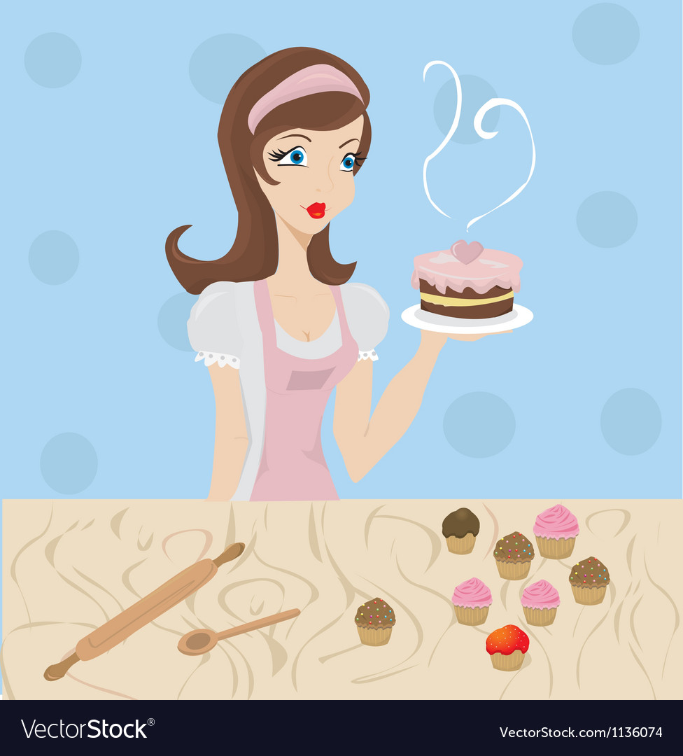 Woman baking vector | Price: 1 Credit (USD $1)