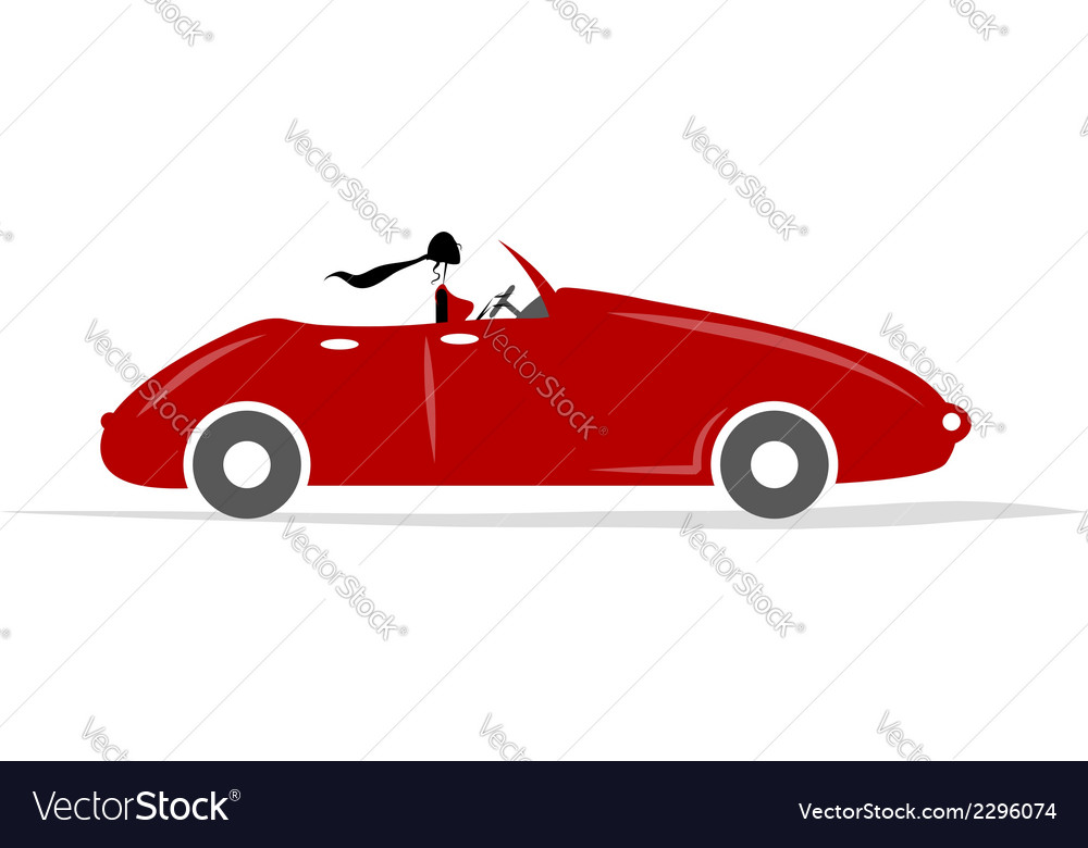 Woman driving red car for your design vector | Price: 1 Credit (USD $1)