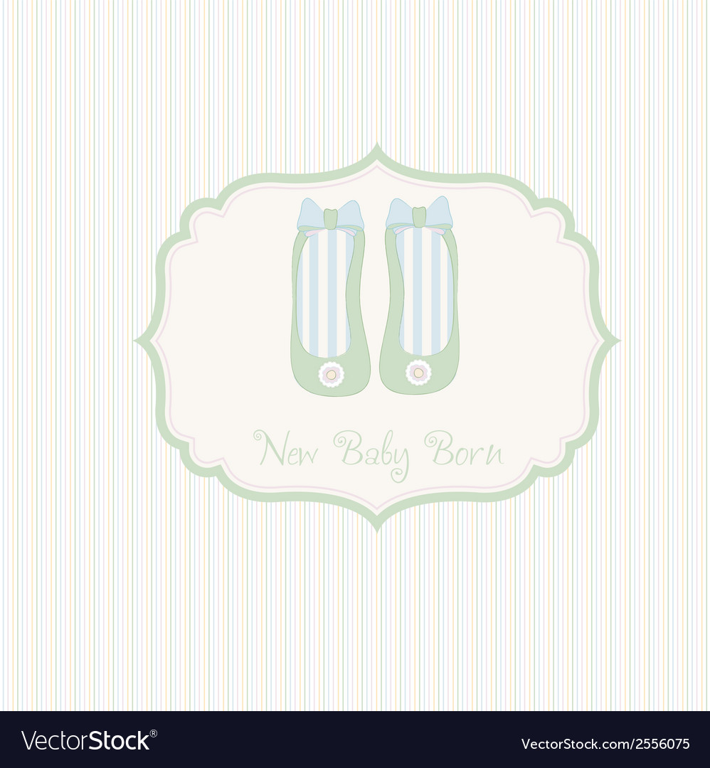Baby shower card with shoes vector | Price: 1 Credit (USD $1)
