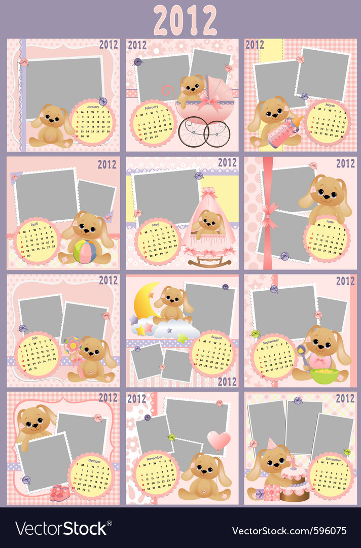 Babys monthly calendar vector | Price: 1 Credit (USD $1)