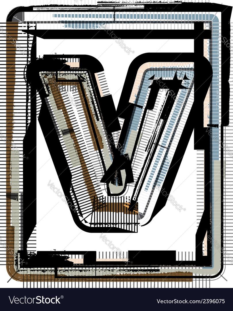 Grunge font letter v vector | Price: 1 Credit (USD $1)