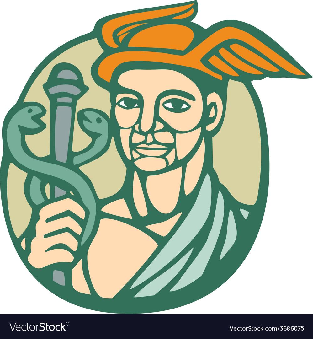 Hermes holding cadaceus woodcut linocut vector | Price: 1 Credit (USD $1)