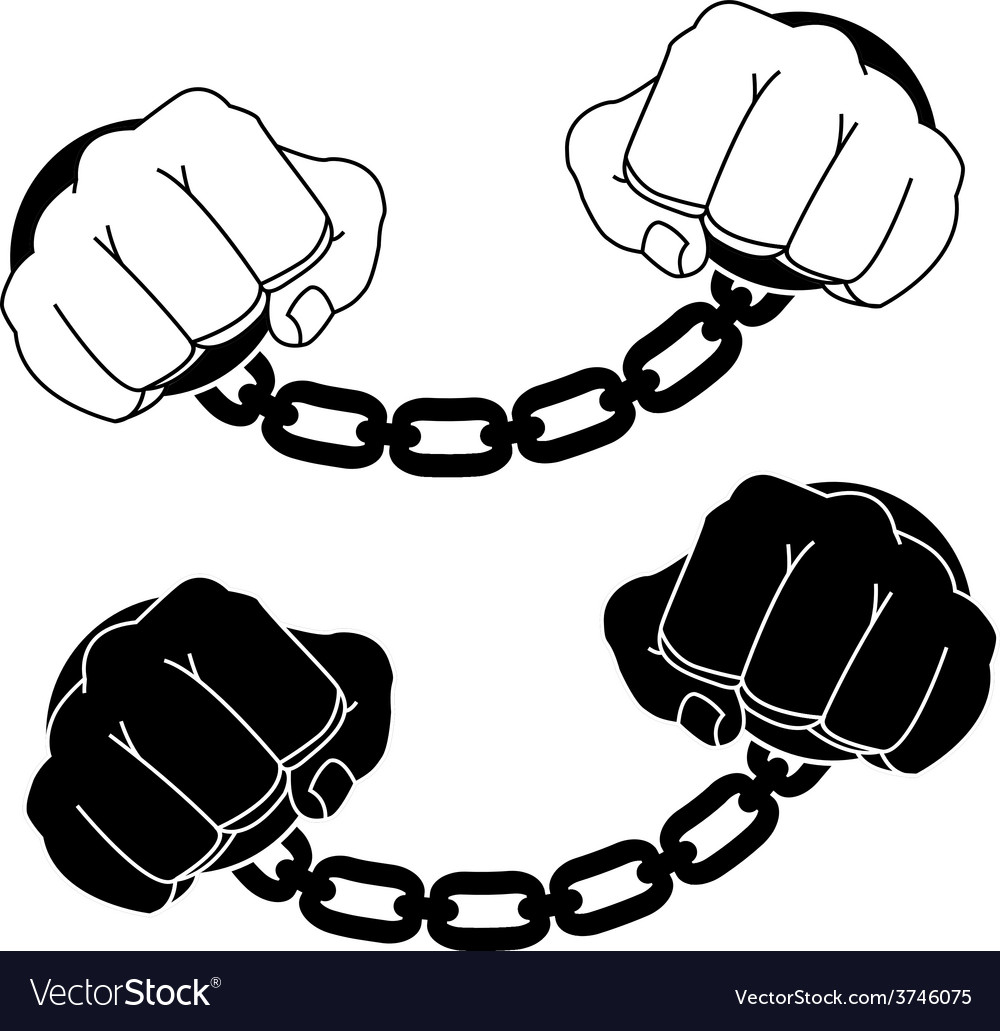 Male hands in steel handcuffs black and white vector | Price: 1 Credit (USD $1)