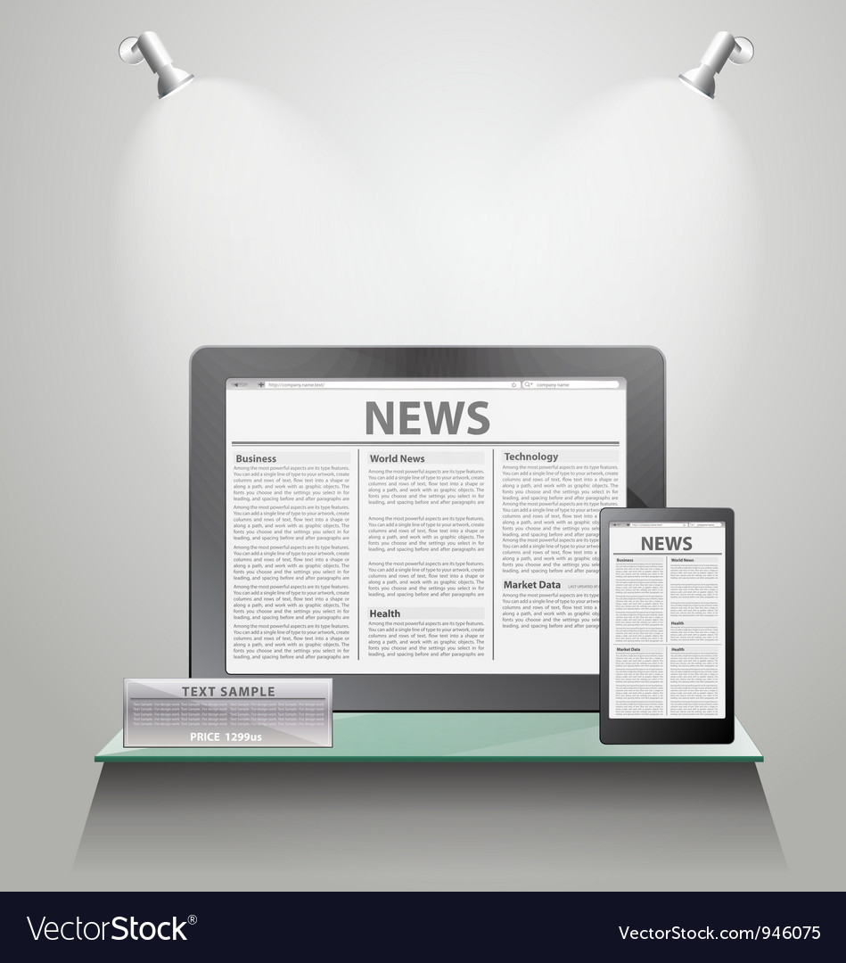 News tablet pc on shelves vector | Price: 3 Credit (USD $3)