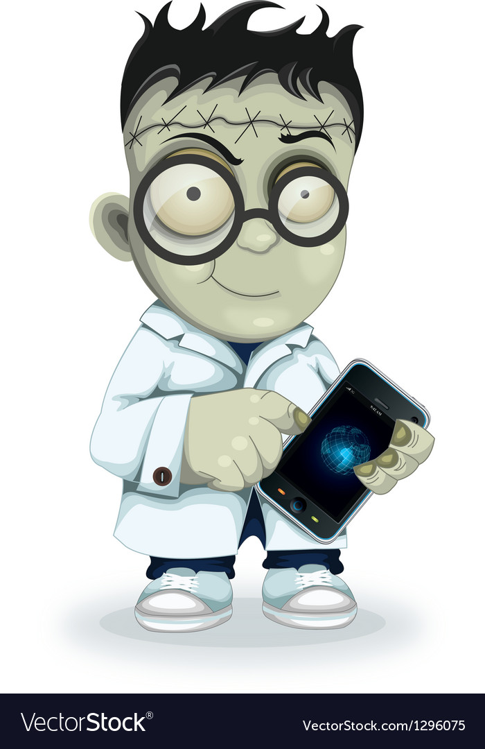 Professor frankenstein with phone vector | Price: 1 Credit (USD $1)