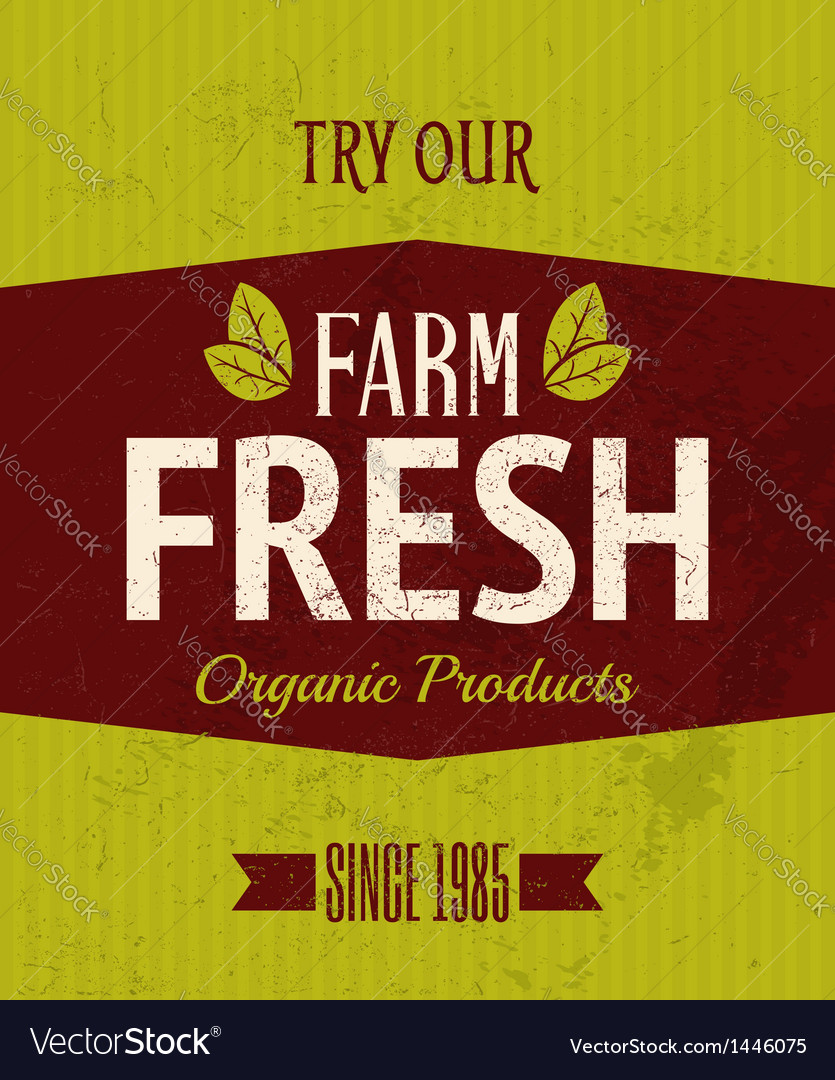 Retro farm fresh poster vector | Price: 1 Credit (USD $1)