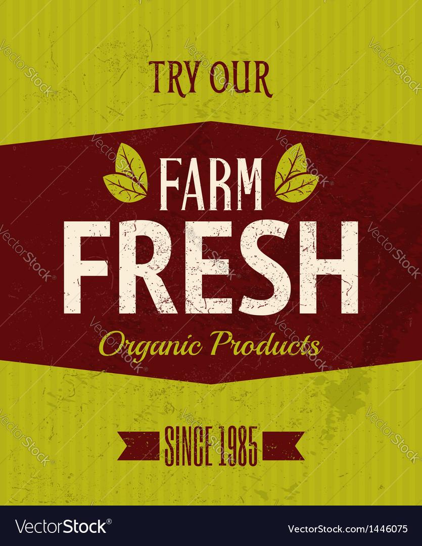 Retro farm fresh poster vector | Price: 1 Credit (USD $1)