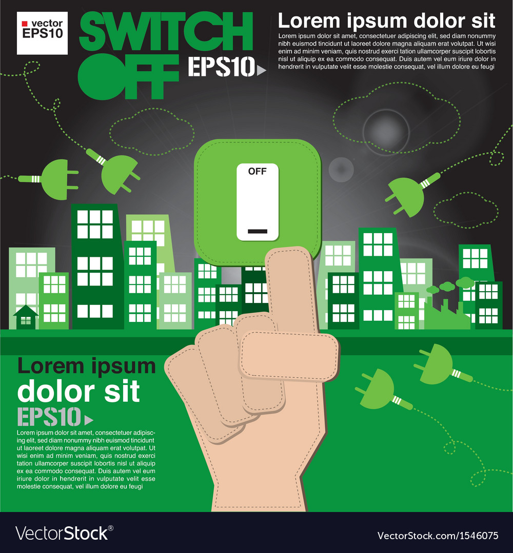 Switch off sustainable development concept eps10 vector | Price: 1 Credit (USD $1)