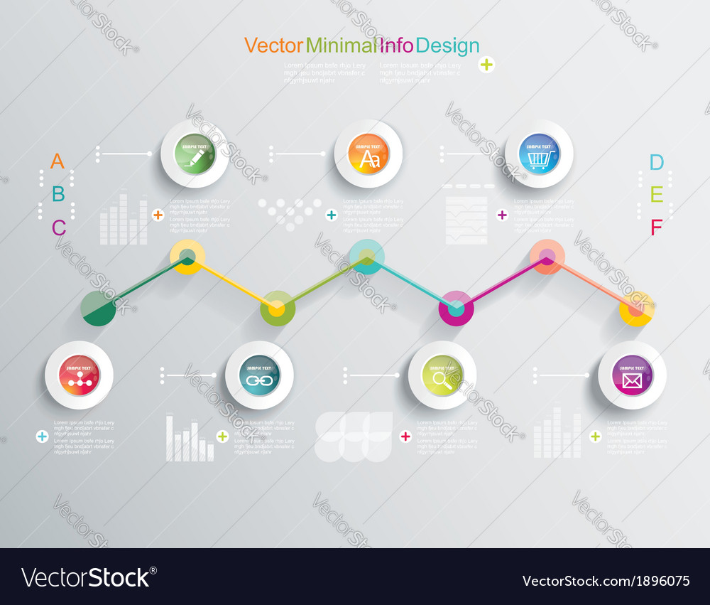 Time line design template with diagram set vector | Price: 1 Credit (USD $1)