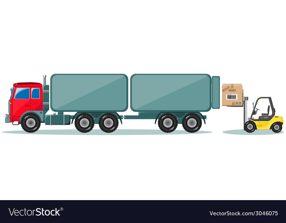 Truck and loader with box shipment icons set vector | Price: 1 Credit (USD $1)