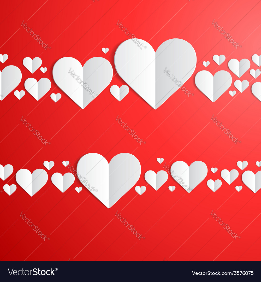 Valentines day card with cut paper hearts vector | Price: 1 Credit (USD $1)