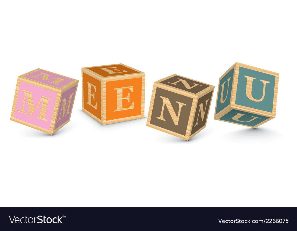 Word menu written with alphabet blocks vector | Price: 1 Credit (USD $1)