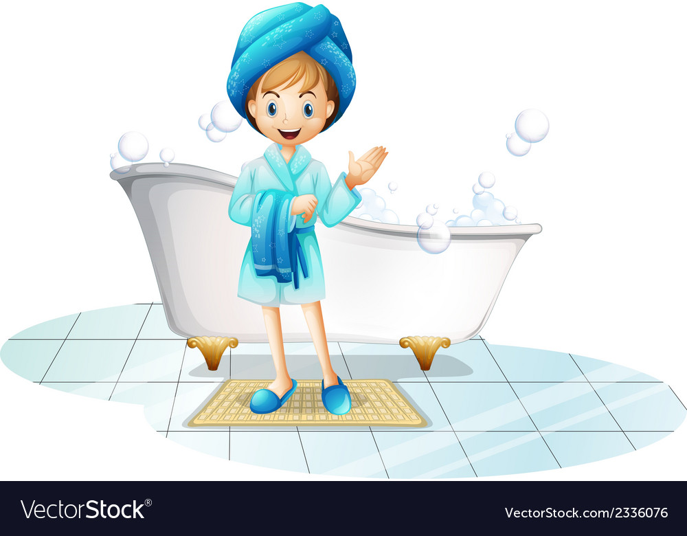 A happy girl wearing a blue robe and a blue shower vector | Price: 1 Credit (USD $1)