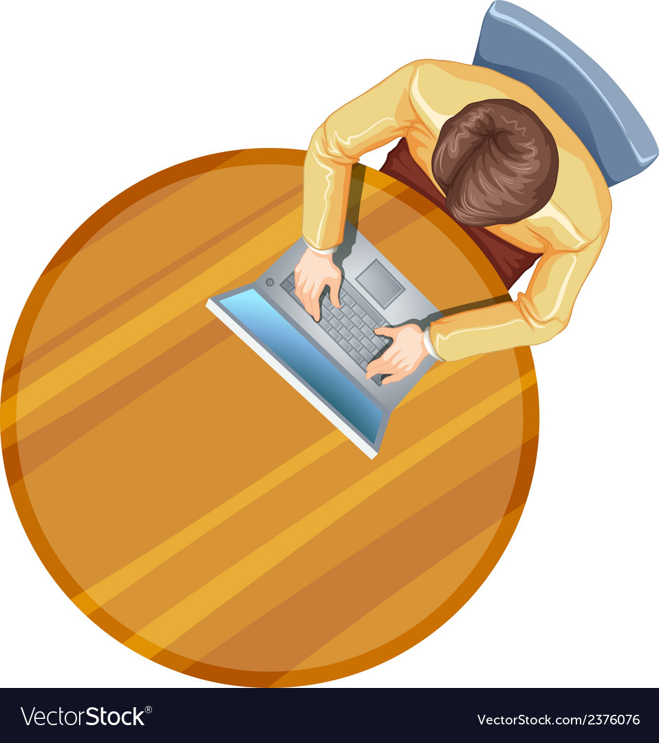 A topview of a man using his laptop above the vector | Price: 1 Credit (USD $1)