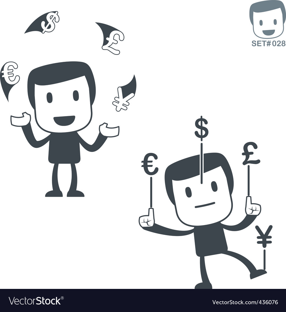 Currency exchange icon man set028 vector | Price: 1 Credit (USD $1)