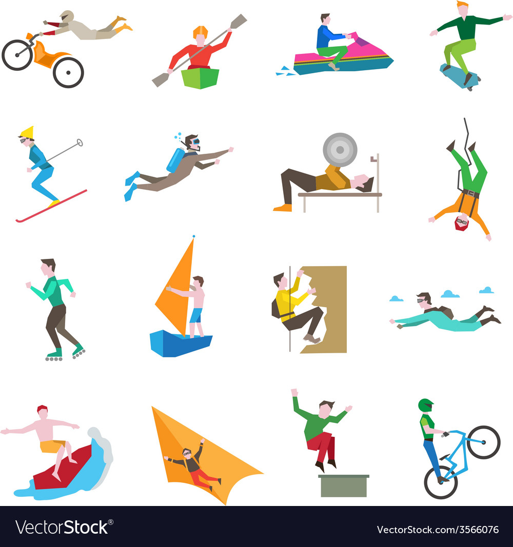 Extreme sports icons vector | Price: 1 Credit (USD $1)