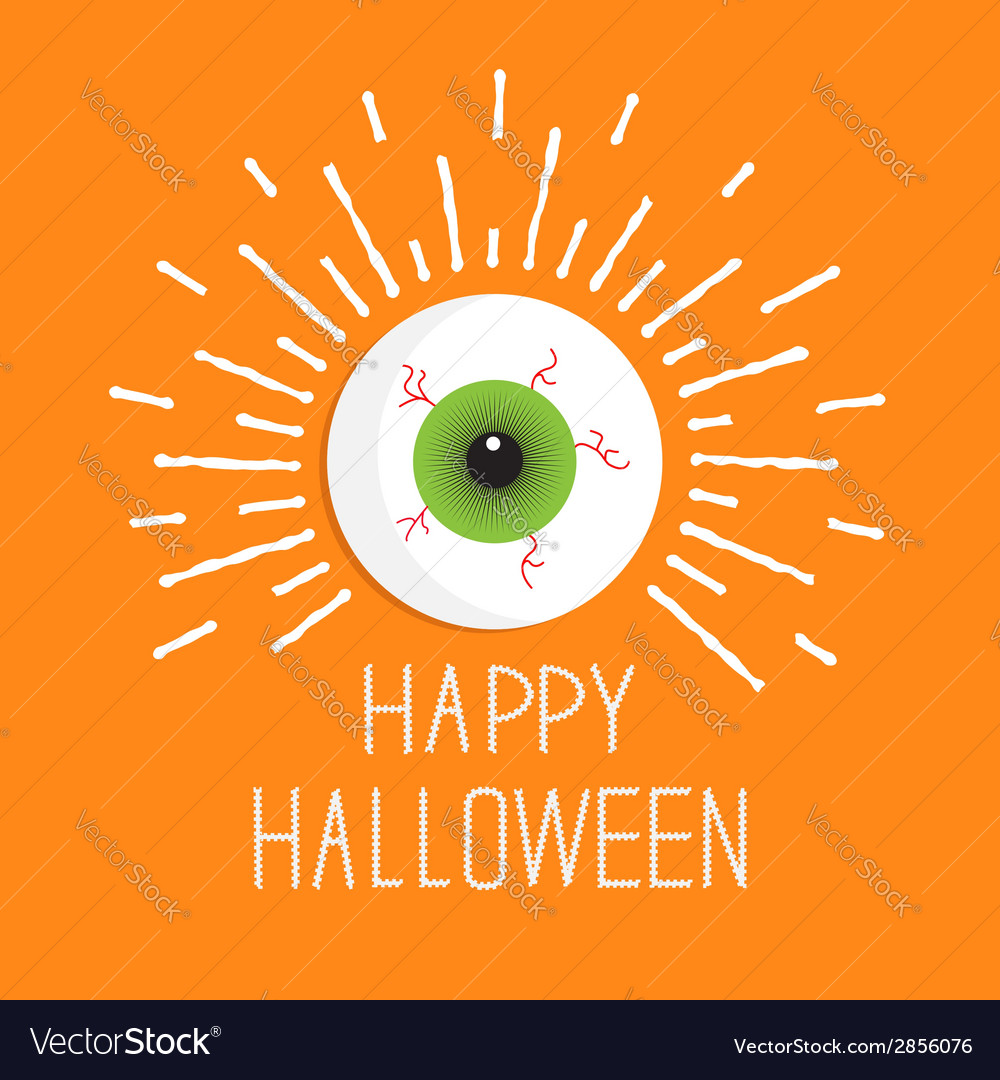 Eyeball with shine lines happy halloween card flat vector | Price: 1 Credit (USD $1)