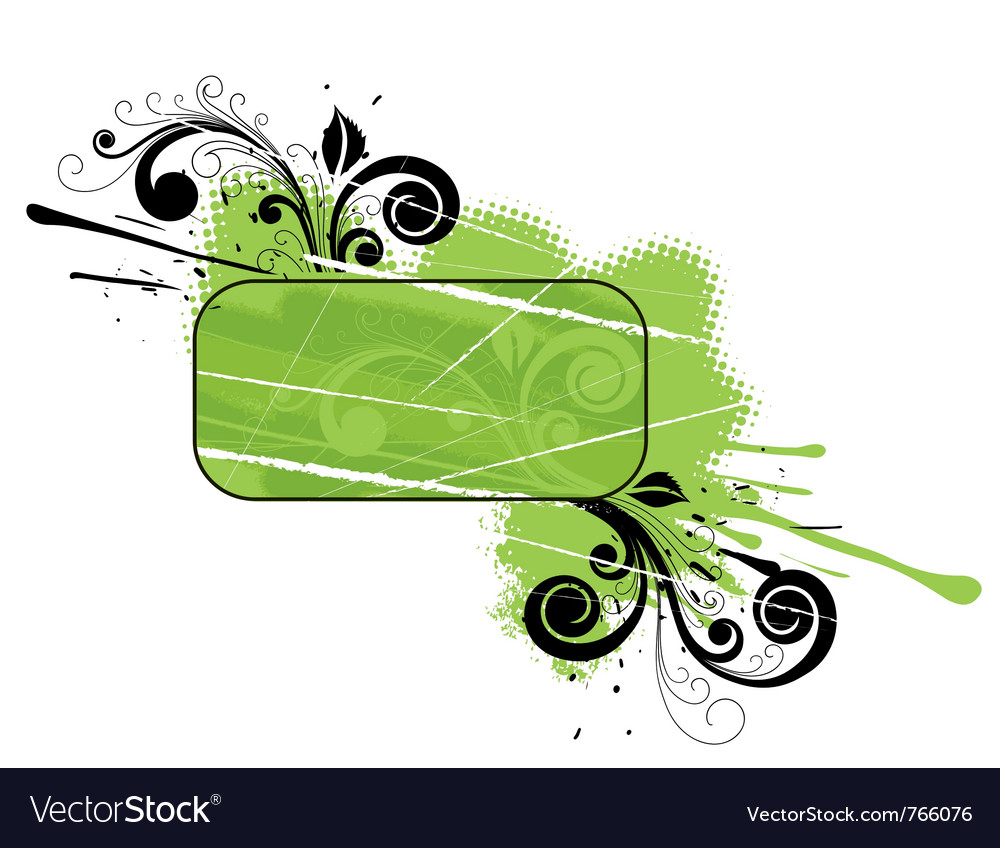 Green floral banner vector | Price: 1 Credit (USD $1)