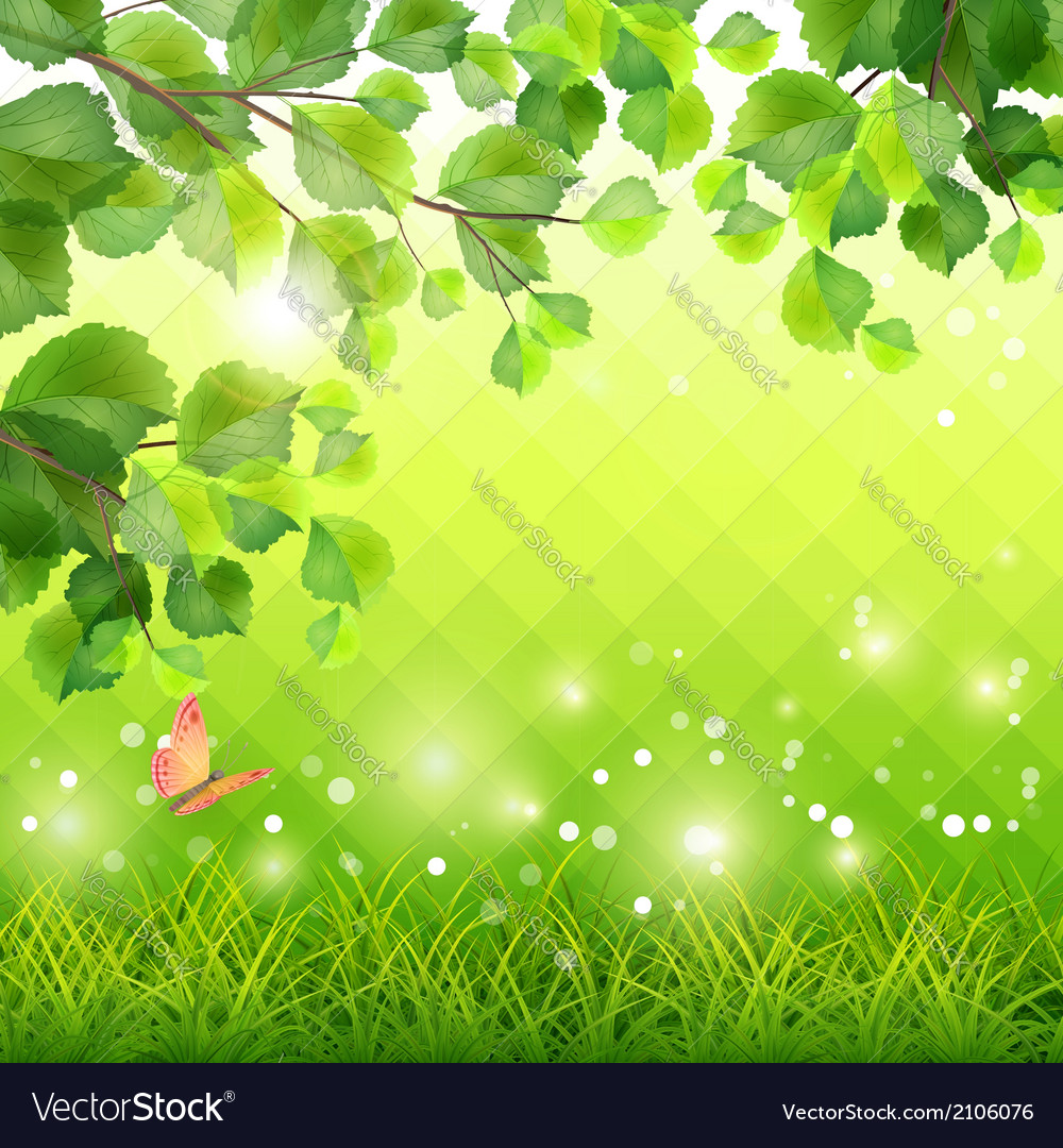Green grass tree branch butterfly background vector | Price: 1 Credit (USD $1)