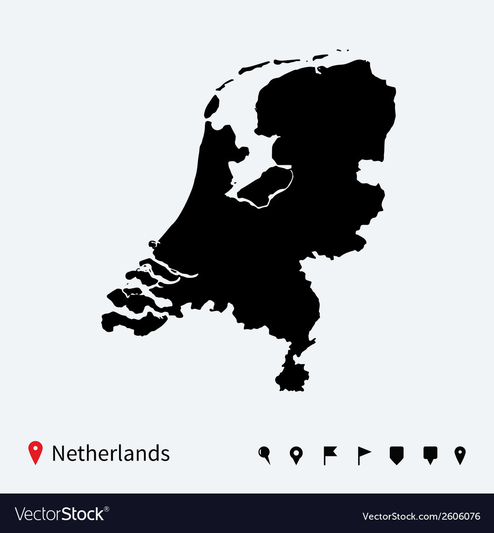 High detailed map of netherlands with navigation vector | Price: 1 Credit (USD $1)