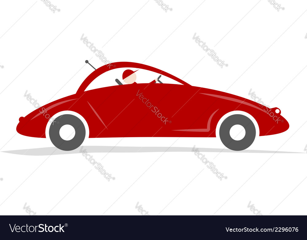 Man driving red sport car for your design vector | Price: 1 Credit (USD $1)