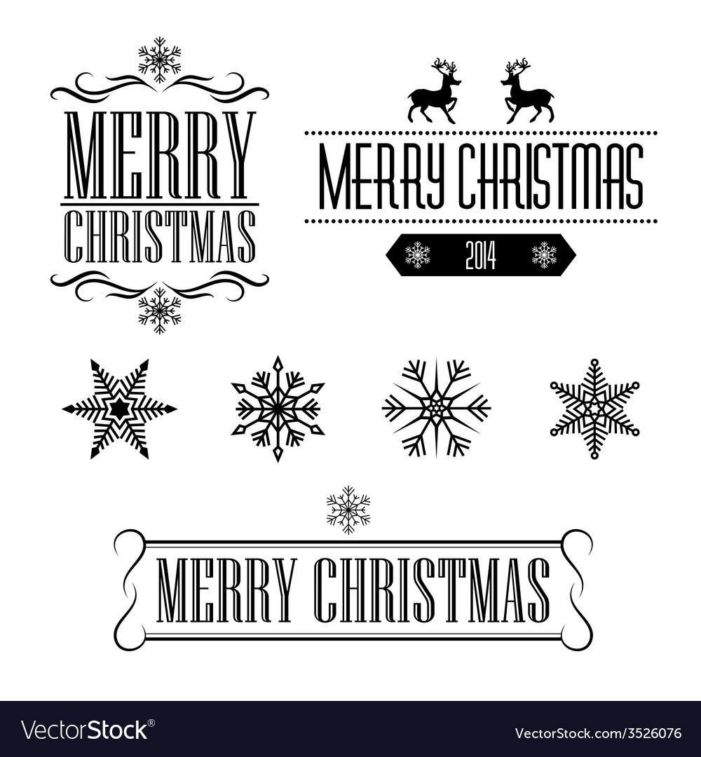 Merry christmas decorative signs and frames vector | Price: 1 Credit (USD $1)