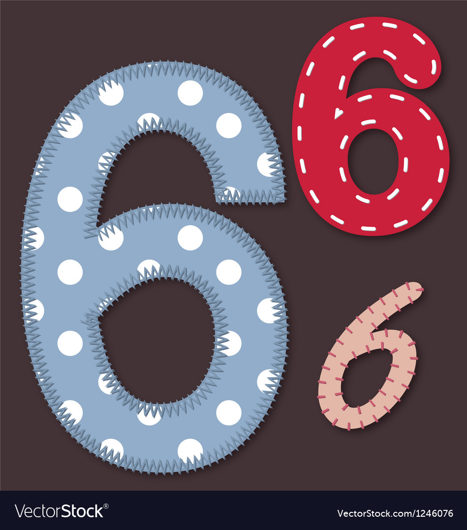 Set of stitched font - 6 six vector | Price: 1 Credit (USD $1)