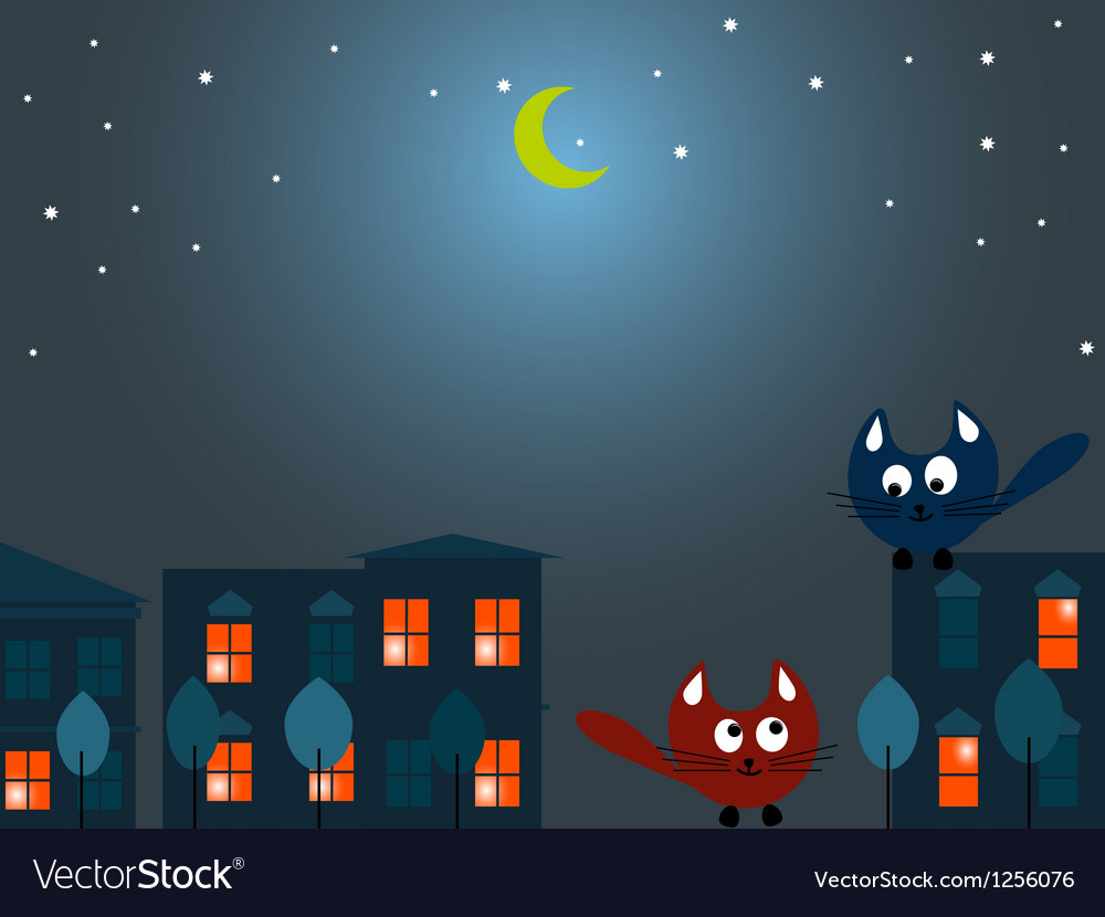 Two cats at night vector | Price: 1 Credit (USD $1)