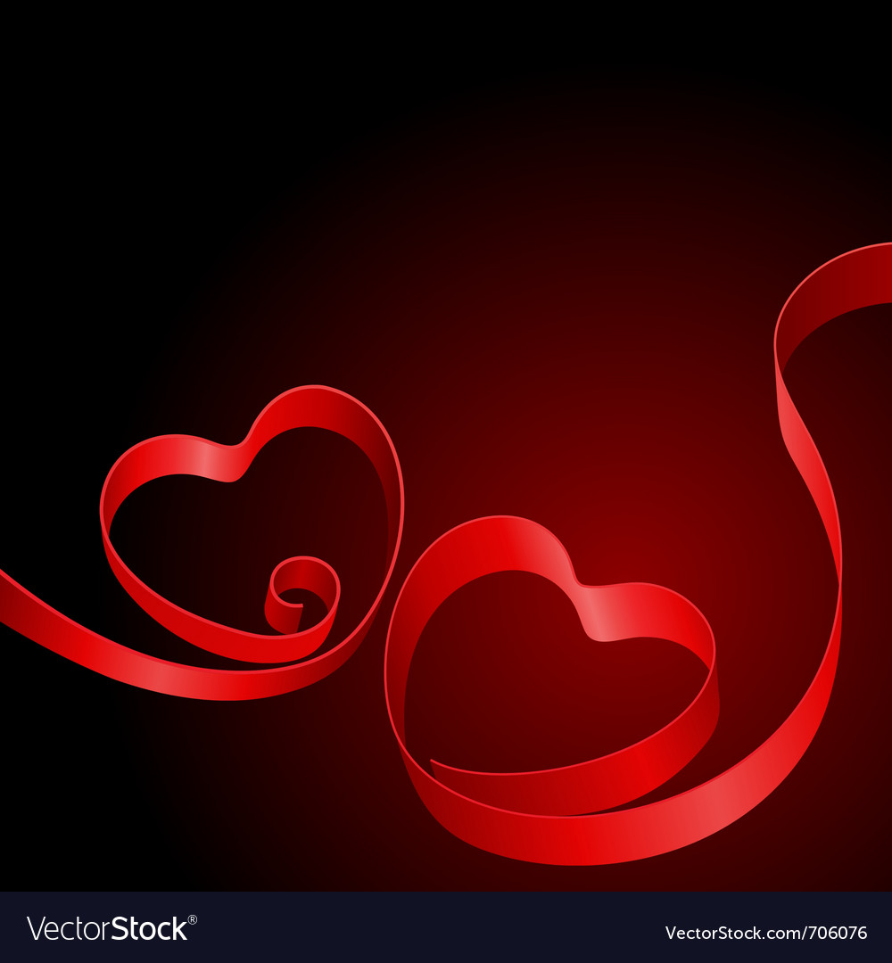 Two red hearts from ribbon vector | Price: 1 Credit (USD $1)