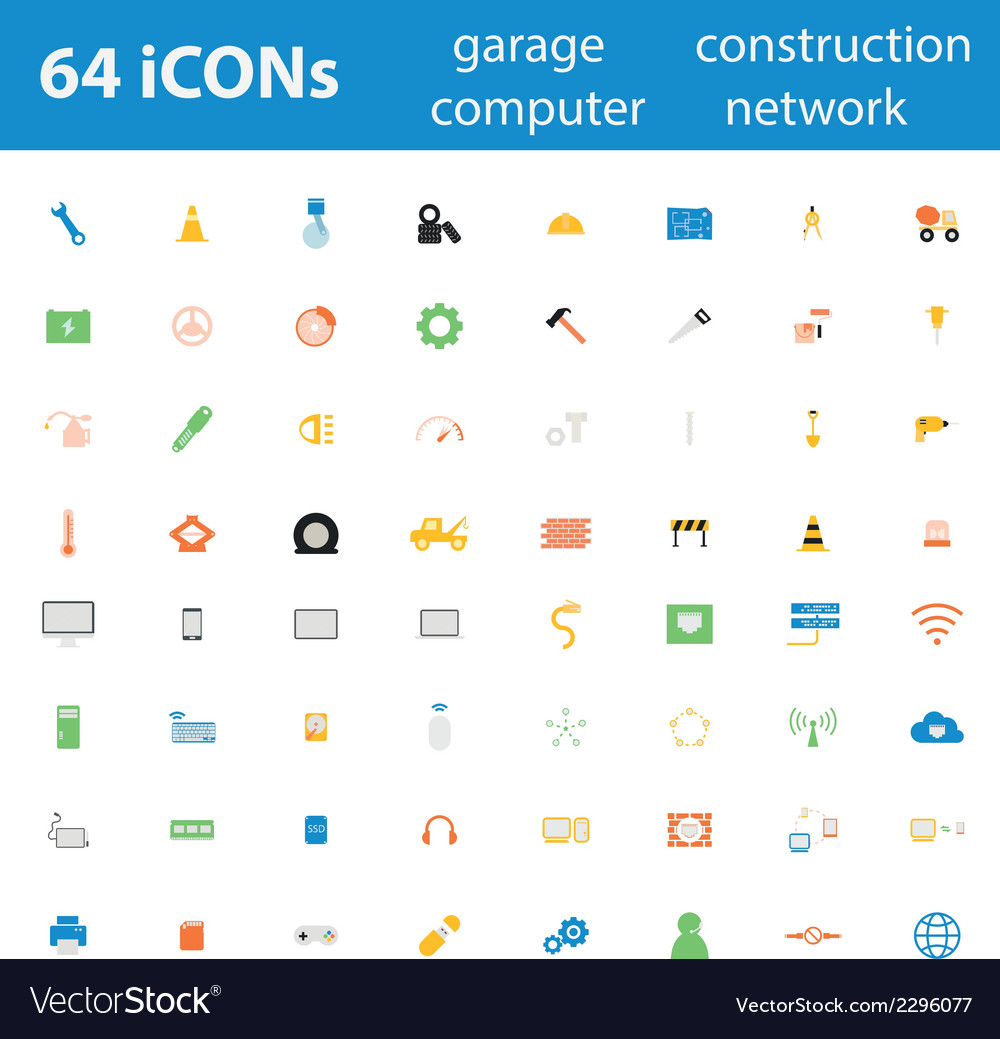 64icon garage construction computer network vector | Price: 1 Credit (USD $1)