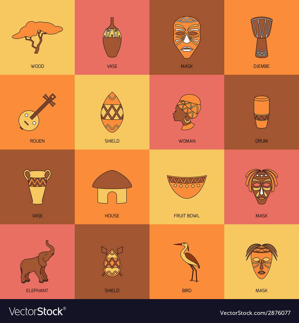 Africa icons line flat vector | Price: 1 Credit (USD $1)