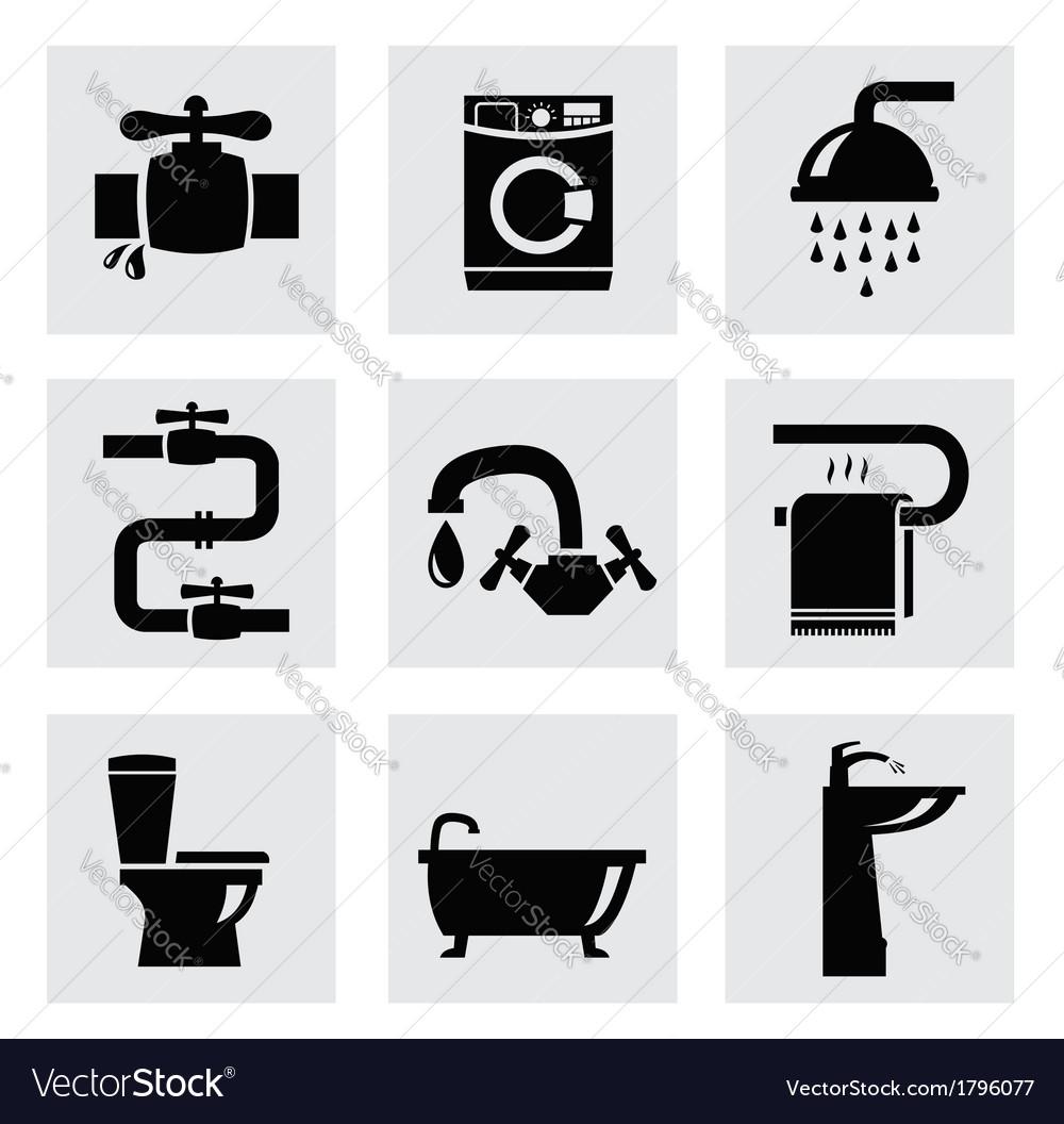 Bathroom icon set vector | Price: 1 Credit (USD $1)