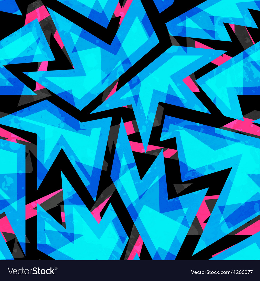 Blue neon geometric seamless pattern vector | Price: 1 Credit (USD $1)