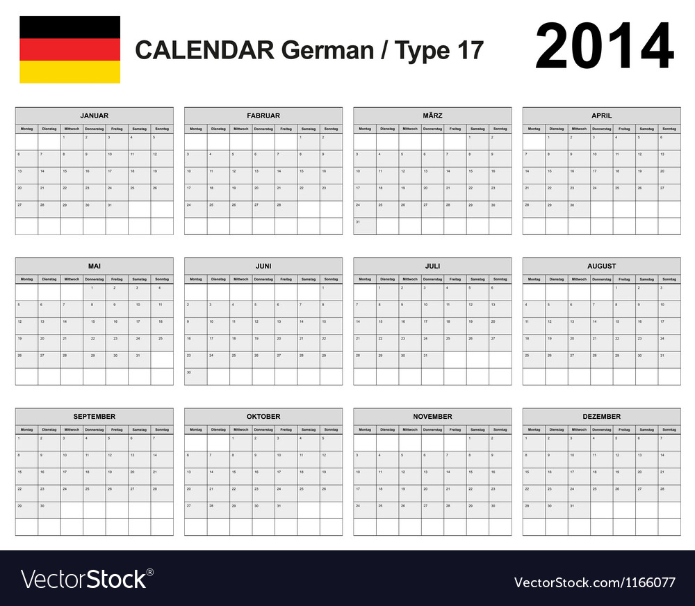 Calendar 2014 german type 17 vector | Price: 1 Credit (USD $1)