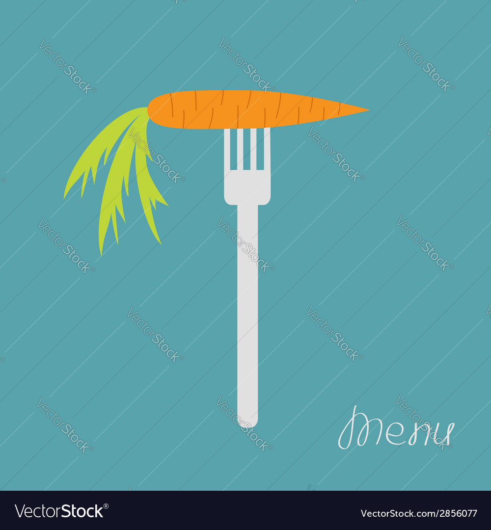 Carrot on fork diet concept menu cover flat design vector | Price: 1 Credit (USD $1)