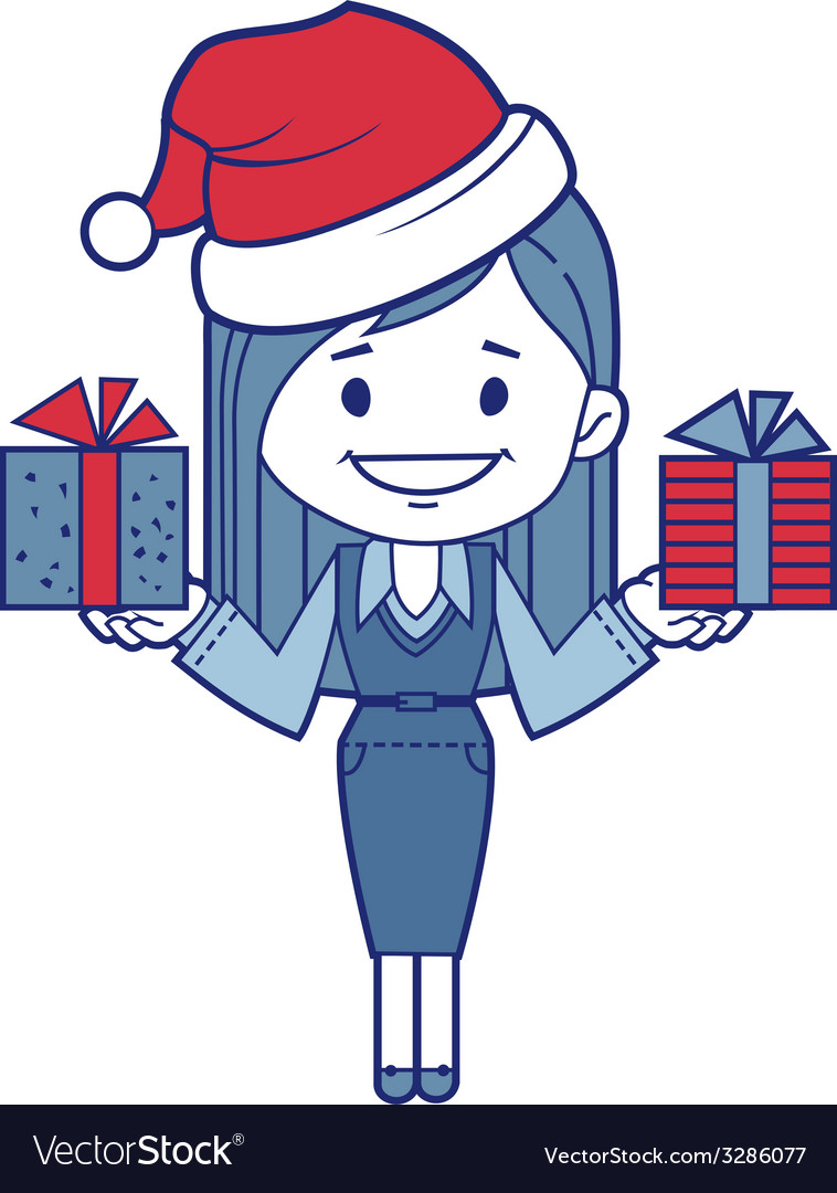Christmas character girl with presents vector | Price: 1 Credit (USD $1)