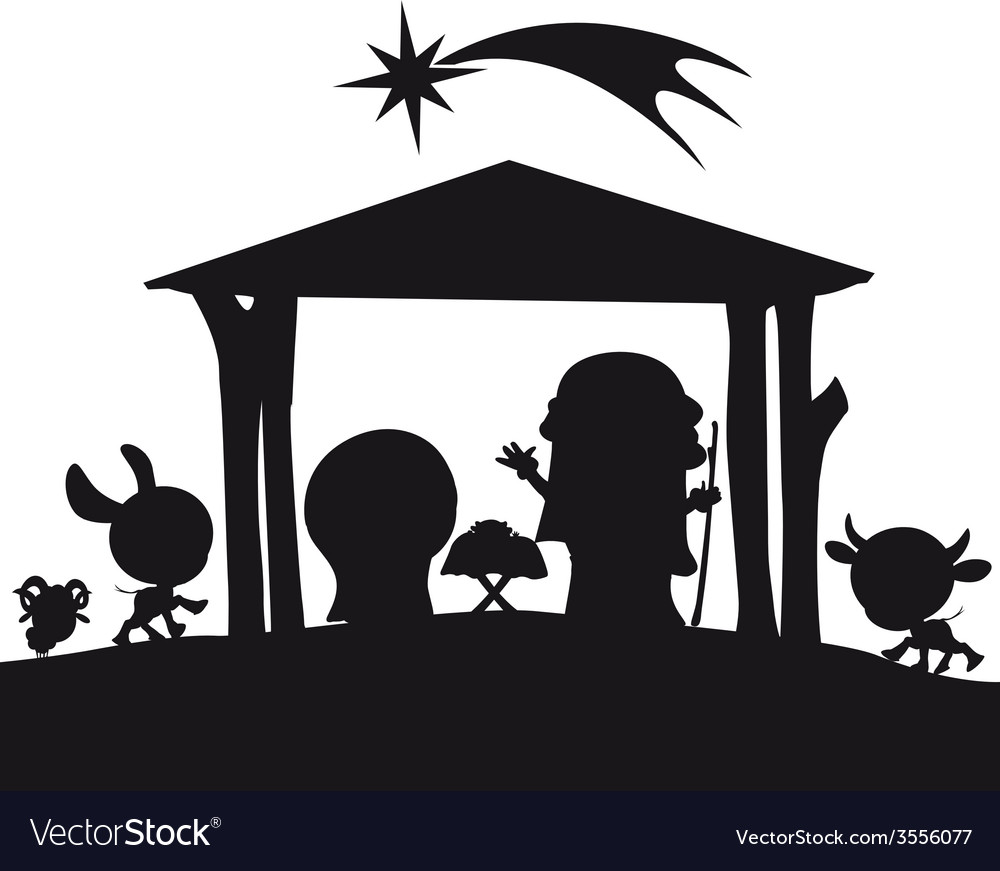 Christmas nativity silhouette vector | Price: 1 Credit (USD $1)