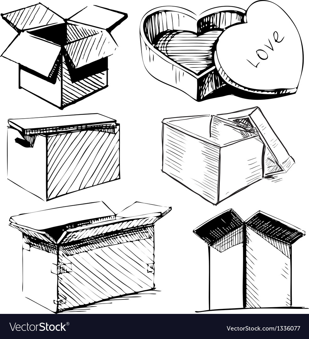 Collection of box icons isolated on white vector   Price: 1 Credit (USD $1)