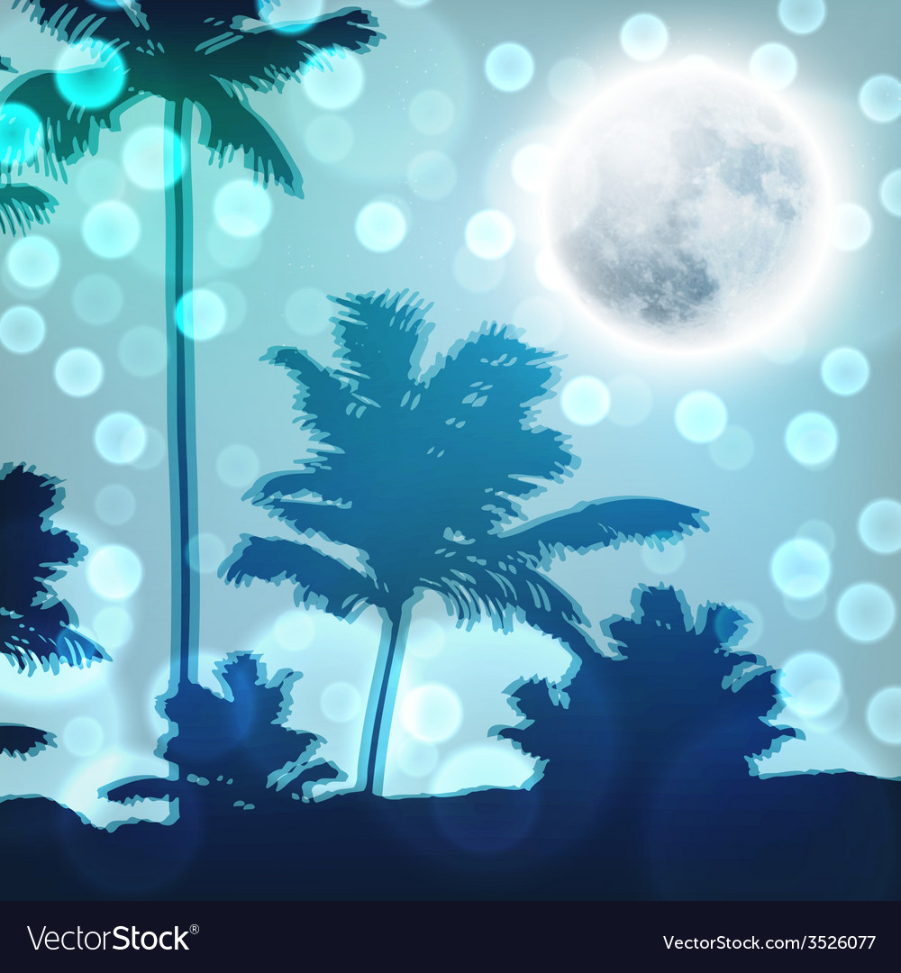 Landscape with palm trees and full moon at night vector | Price: 1 Credit (USD $1)