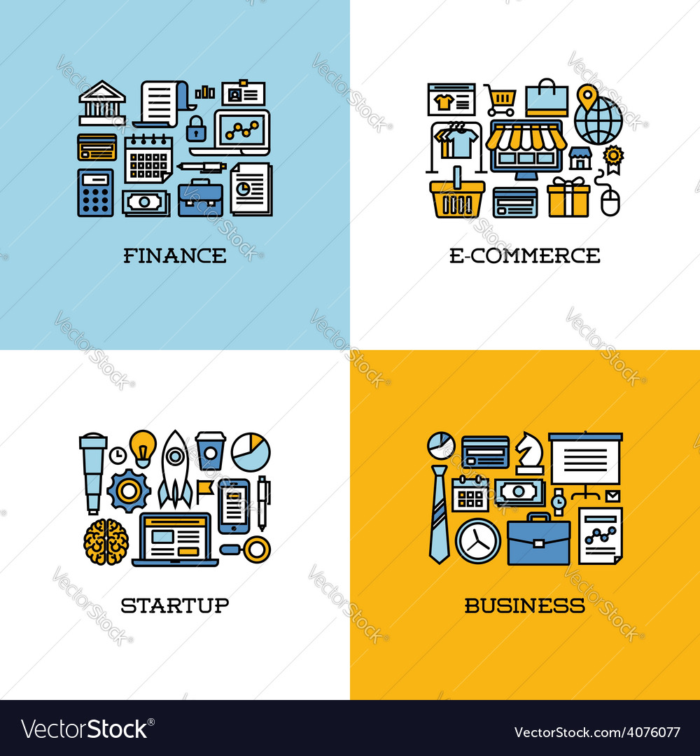 Line icons of finance e-commerce startup business vector | Price: 1 Credit (USD $1)