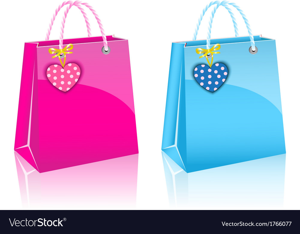 Two valentines day rore paper shopping bag vector | Price: 1 Credit (USD $1)