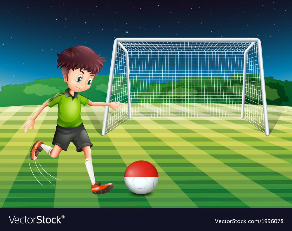 A player kicking the ball with the flag of vector | Price: 3 Credit (USD $3)