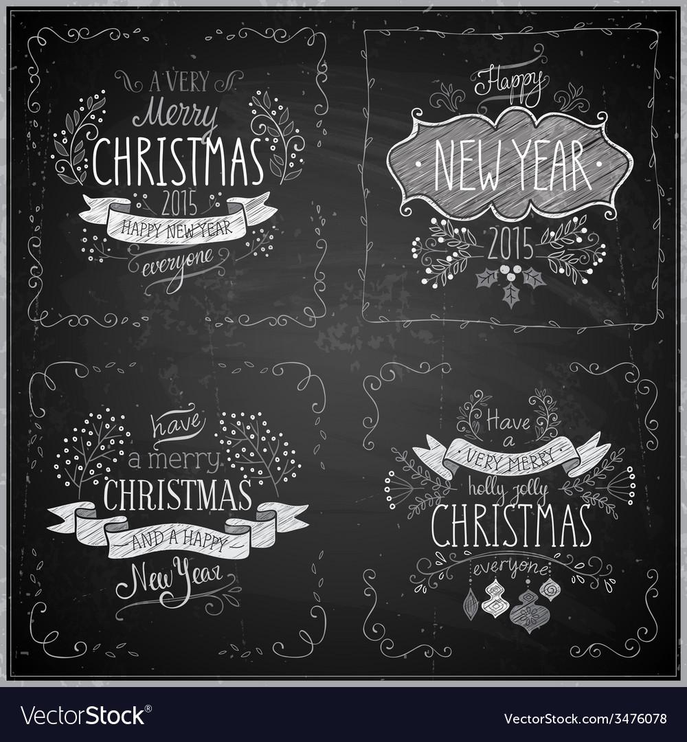 Christmas handdrawn emblems chalkboard vector   Price: 1 Credit (USD $1)