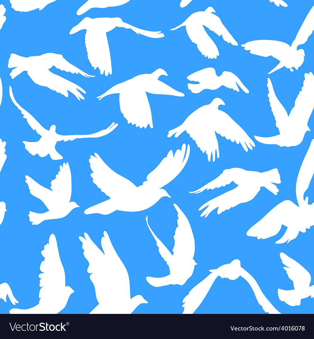 Doves and pigeons seamless pattern on blue vector | Price: 1 Credit (USD $1)